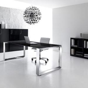 scrivania ufficio in vetro cromata