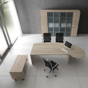 ufficio direzionale in legno e piano in vetro