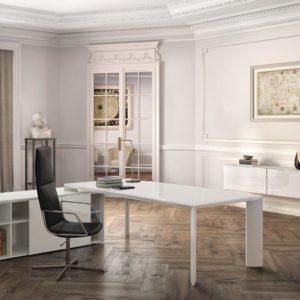 scrivania direzionale in vetro e in legno