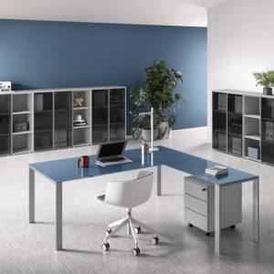scrivania ufficio in vetro