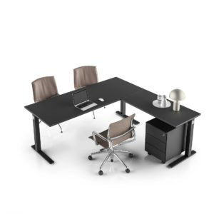 scrivania gamba in metallo ufficio in legno