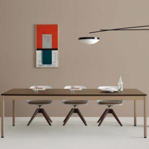 tavolo riunioni meeting in legno con struttura in metallo