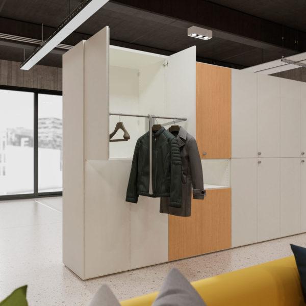 armadio su misura componibile con ante per ufficio e casa