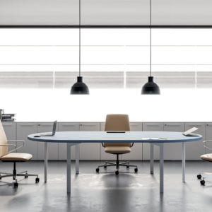 tavolo riunioni in legno con gambe in metallo - meeting