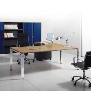 Glider scrivania direzionale in legno GAMBA CROMATA economica