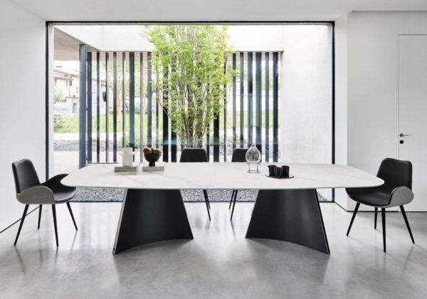 CONCAVE tavolo con piano in cristalceramica